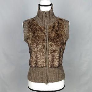 Cabi faux fur sweater vest size M